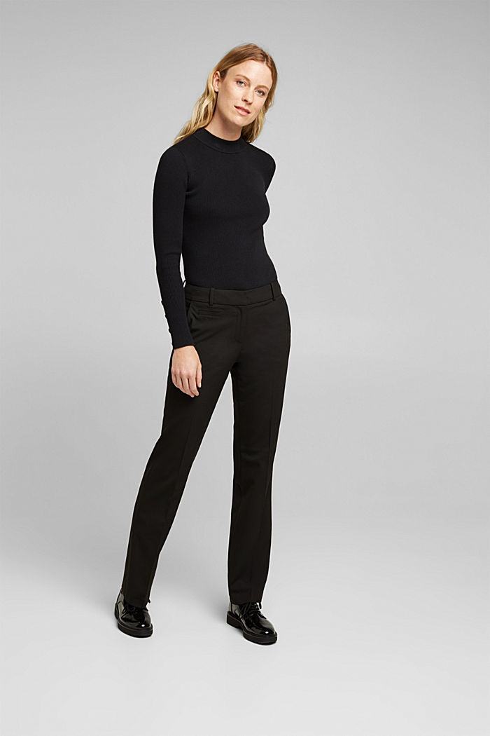 Jersey trousers with stretch for comfort, BLACK, detail image number 1