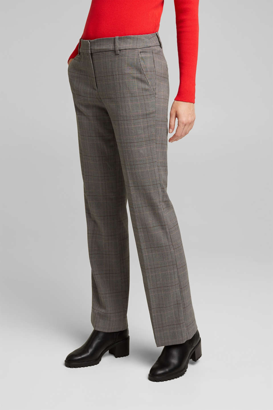 Esprit - Stretchy trousers with a Prince of Wales check pattern