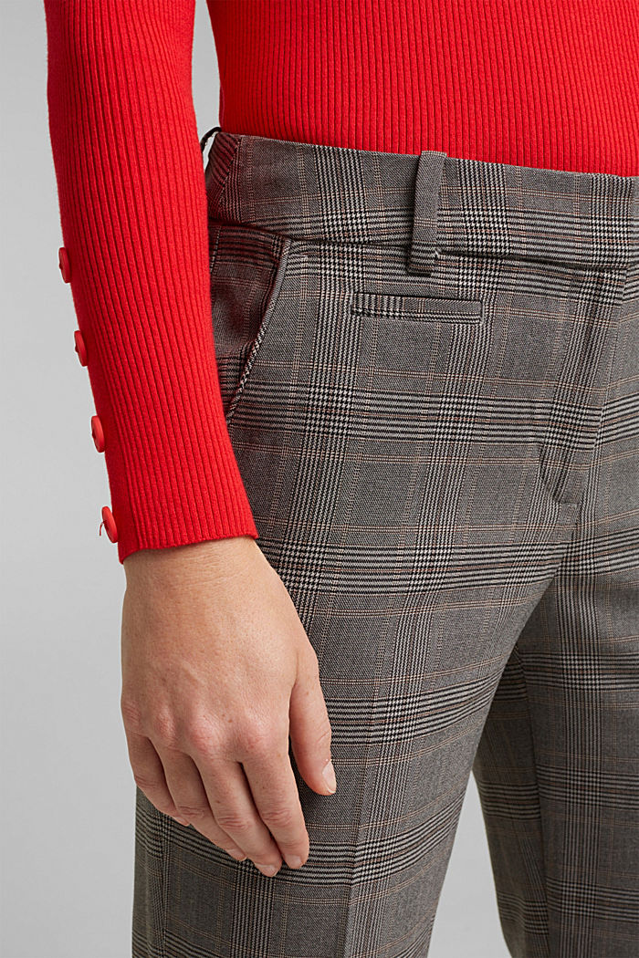 Stretchy trousers with a Prince of Wales check pattern, BEIGE, detail image number 2