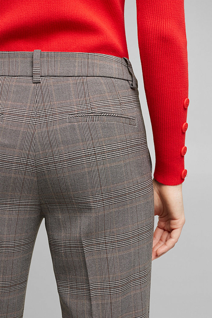 Stretchy trousers with a Prince of Wales check pattern, BEIGE, detail image number 5