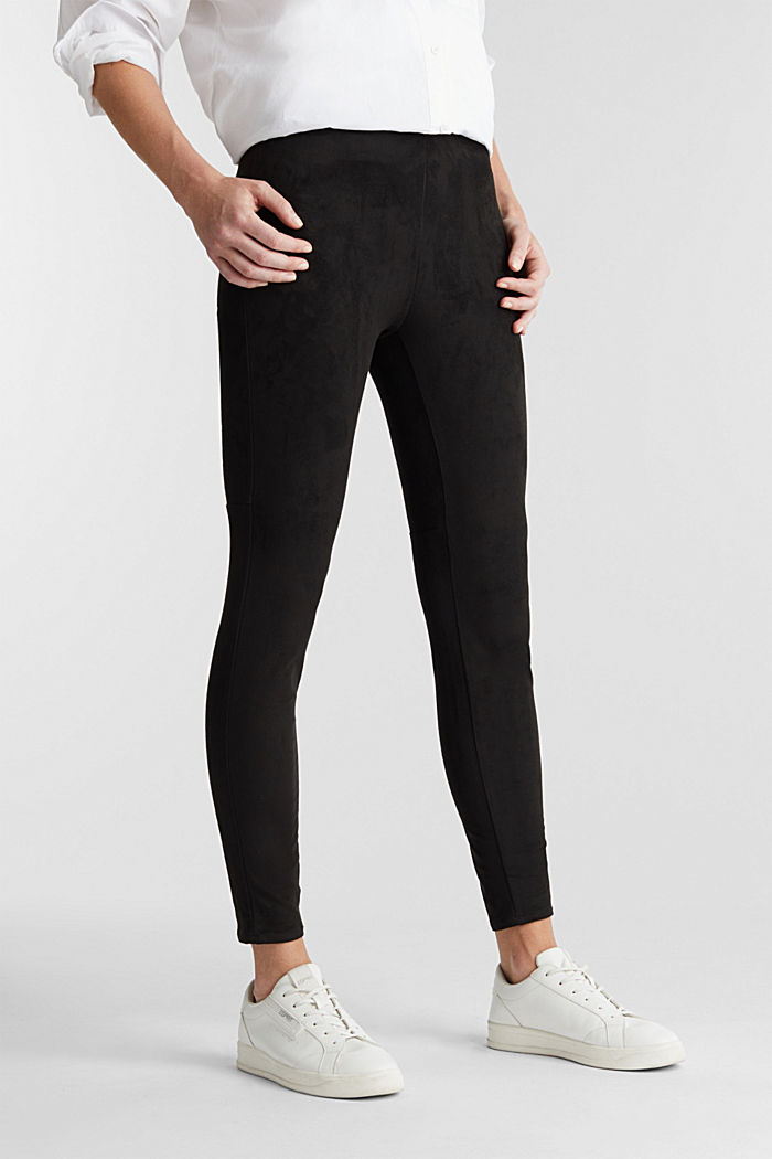 Recycled: Faux suede treggings, BLACK, detail image number 0