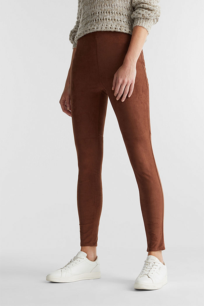 Recycled: Faux suede treggings, BROWN, detail image number 0