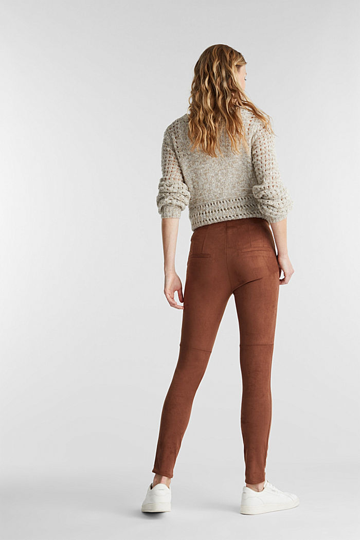 Recycled: Faux suede treggings, BROWN, detail image number 3