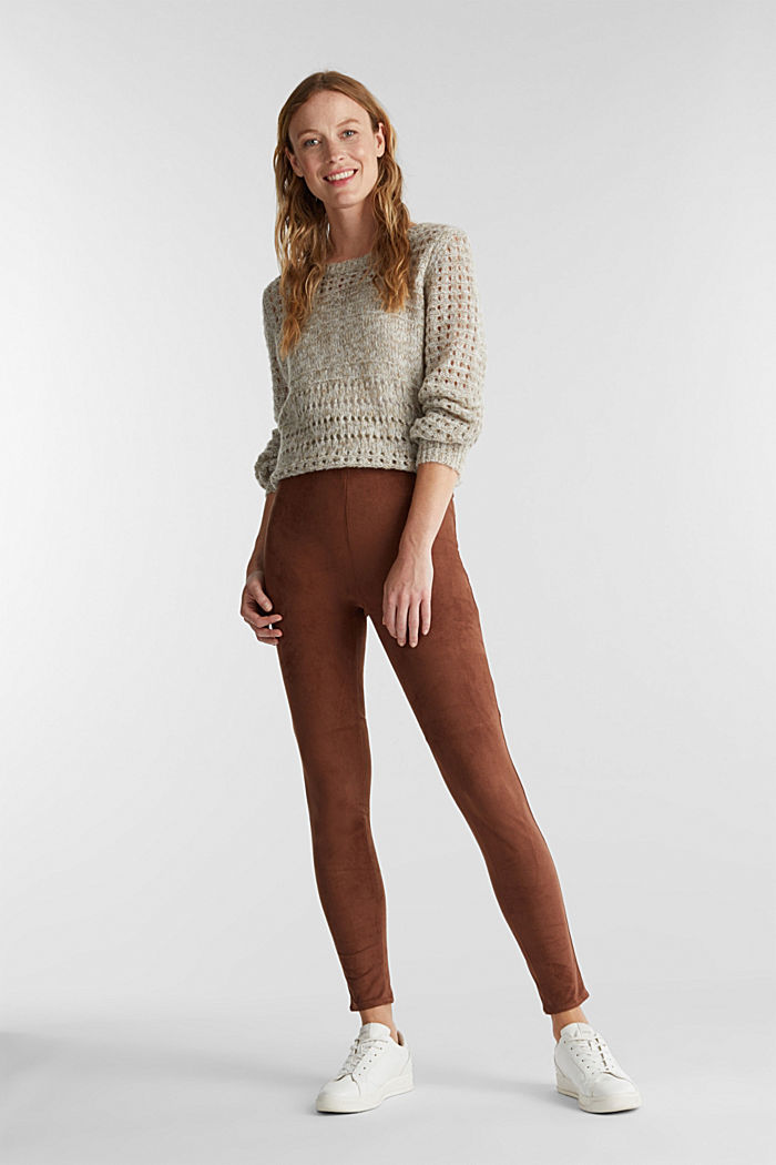 Recycled: Faux suede treggings, BROWN, detail image number 1