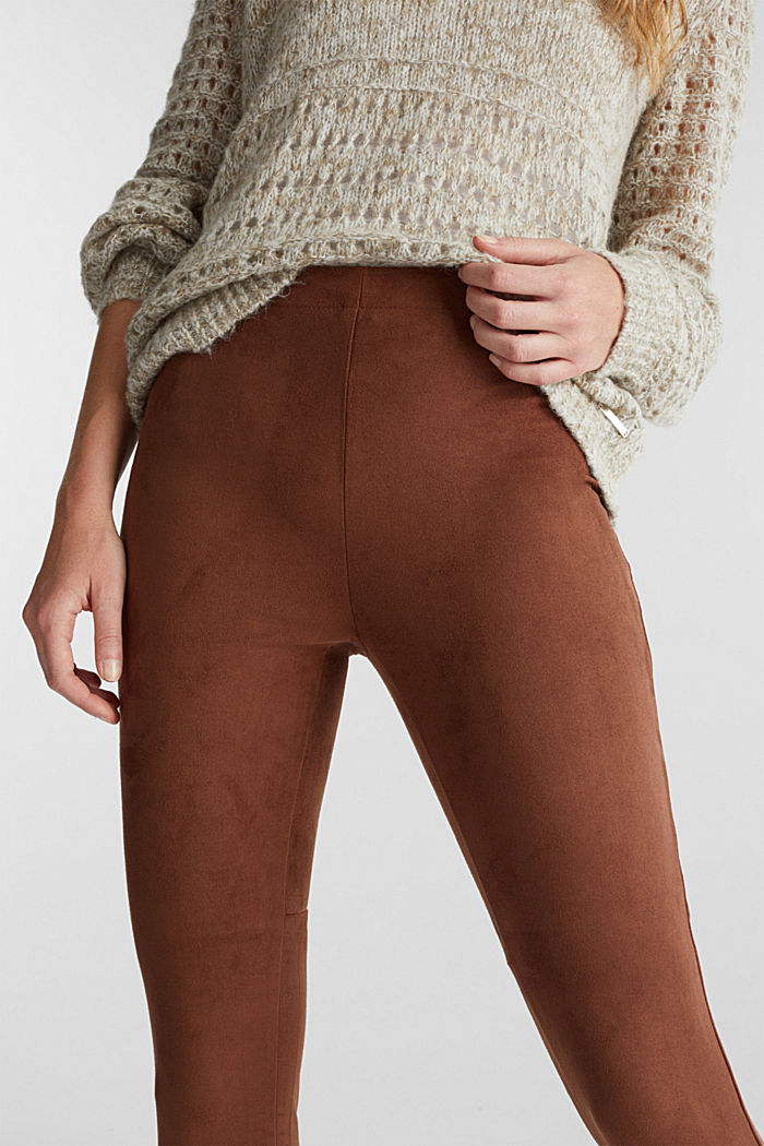 Recycled: Faux suede treggings, BROWN, detail image number 2