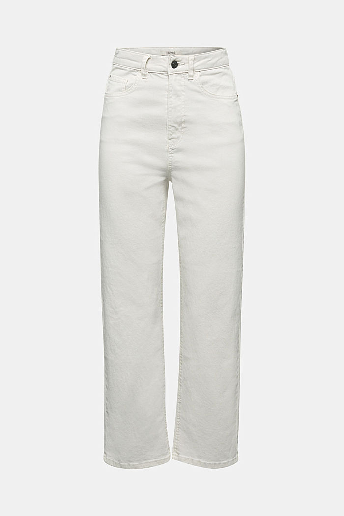 Ankle-length, high-rise jeans
