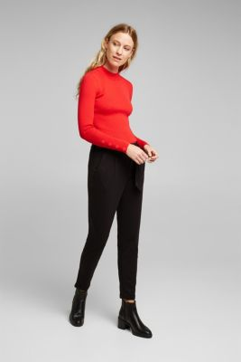 Jersey chinos with stretch for comfort, BLACK, detail