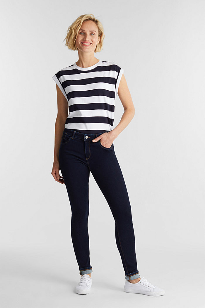 Super stretch jeans with organic cotton, BLUE RINSE, detail image number 1