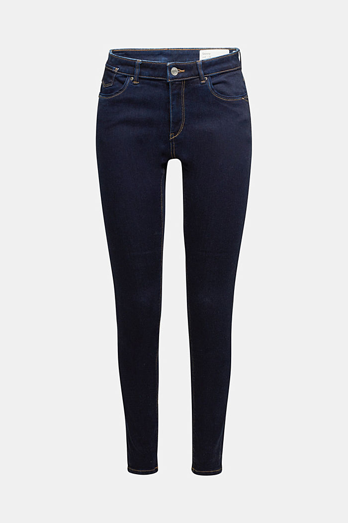 Super stretch jeans with organic cotton, BLUE RINSE, overview
