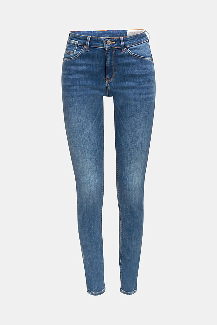 Super stretch jeans with organic cotton, BLUE MEDIUM WASHED, detail image number 5