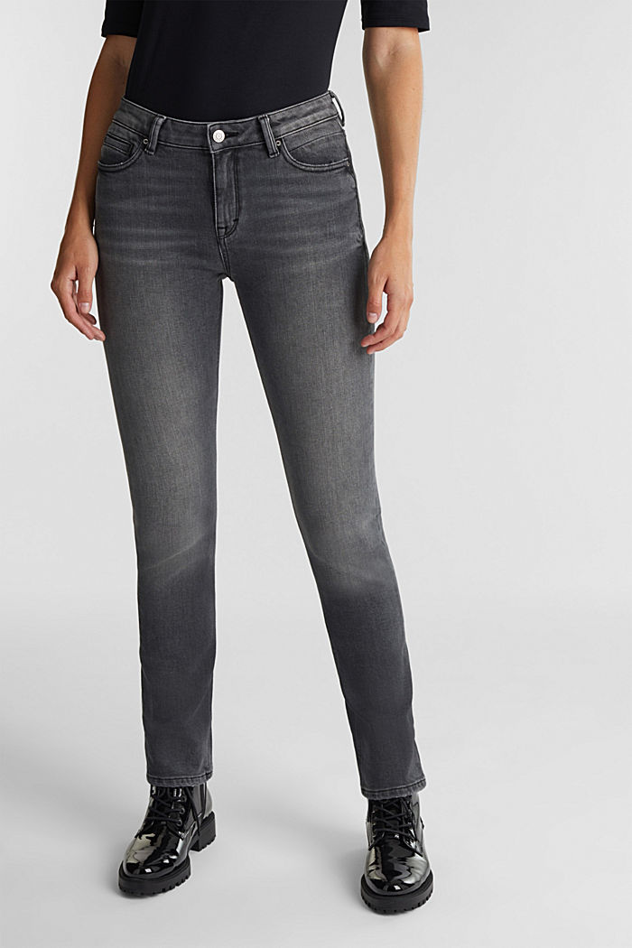 Washed-out jeans, organic cotton, GREY MEDIUM WASHED, detail image number 0