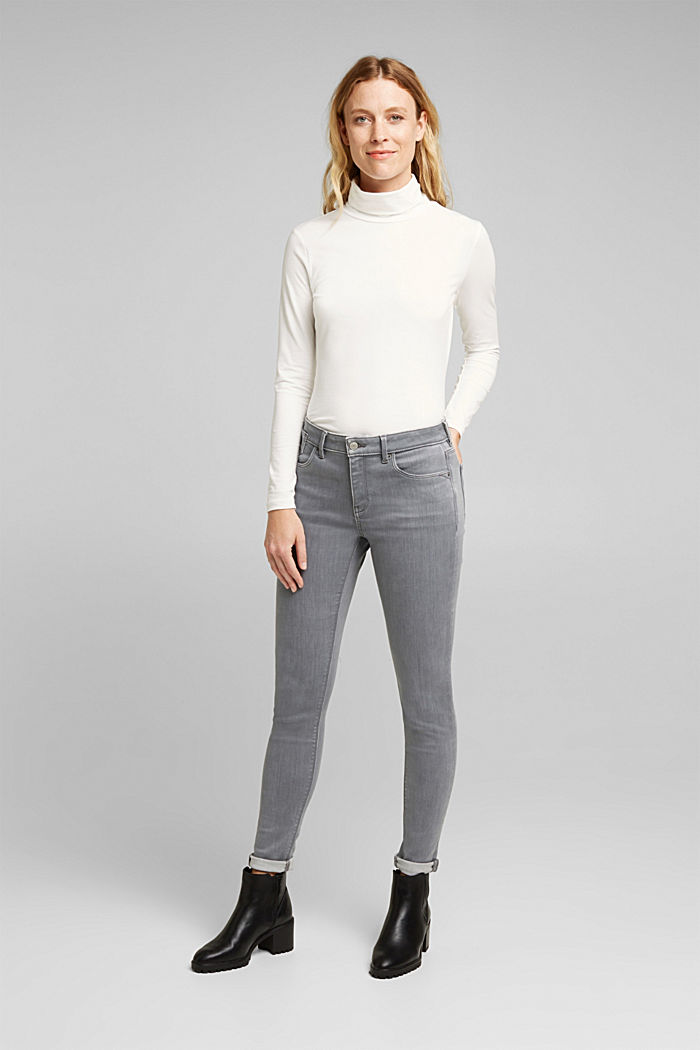 Skinny Jeans mit Kaschmir-Touch, GREY MEDIUM WASHED, detail image number 1