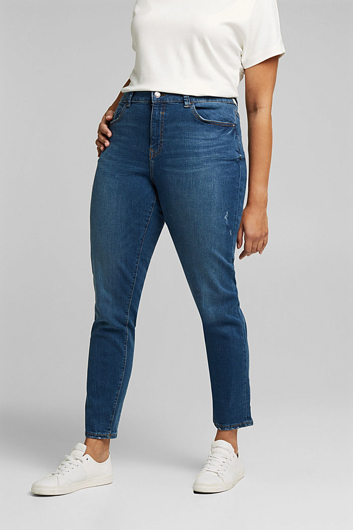 CURVY stretch jeans, organic cotton, BLUE MEDIUM WASHED, detail image number 0