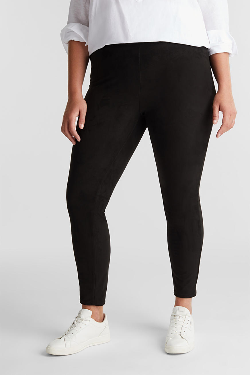 Curvy Treggings in Velursleder-Optik