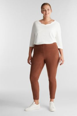 Curvy, faux suede treggings, BROWN, detail