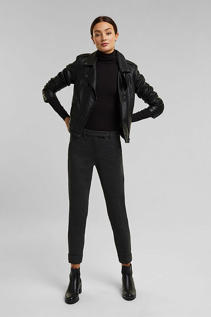 Punto jersey chinos, DARK GREY, detail image number 1