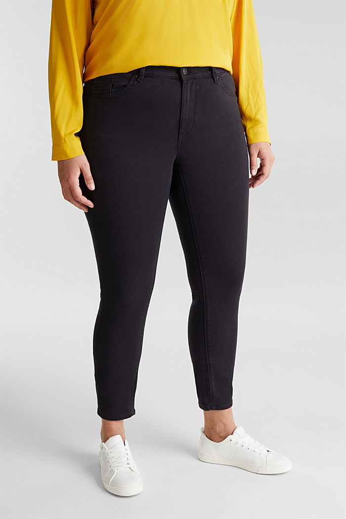 CURVY trousers with organic cotton, BLACK, detail image number 0