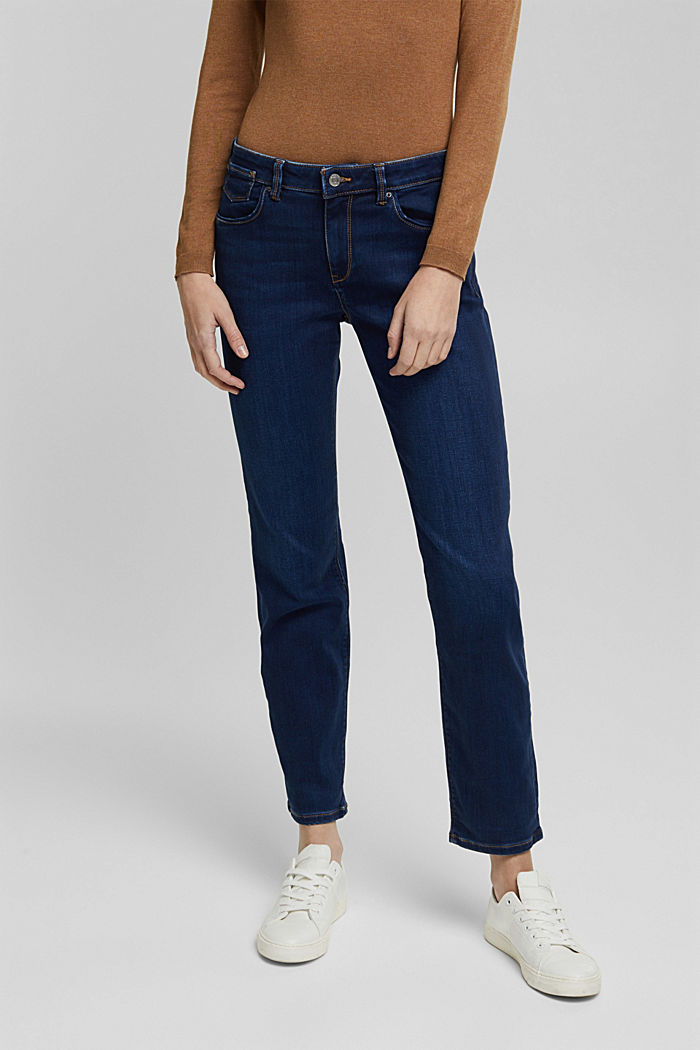 Super stretch jeans with organic cotton, BLUE DARK WASHED, detail image number 0