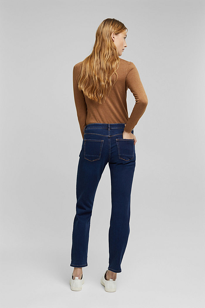Super stretch jeans with organic cotton, BLUE DARK WASHED, detail image number 3
