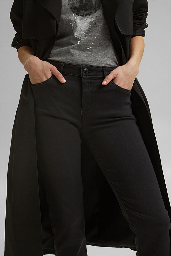 Super stretch jeans with organic cotton, BLACK DARK WASHED, detail image number 2