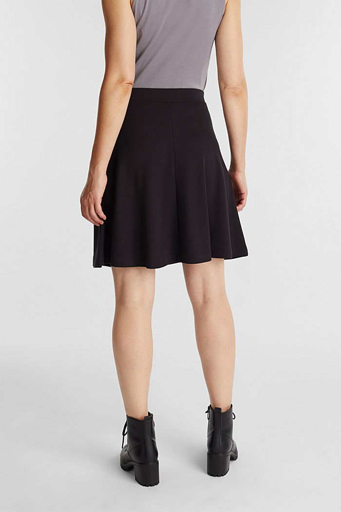 Jersey skirt with stretch for comfort, BLACK, detail image number 3