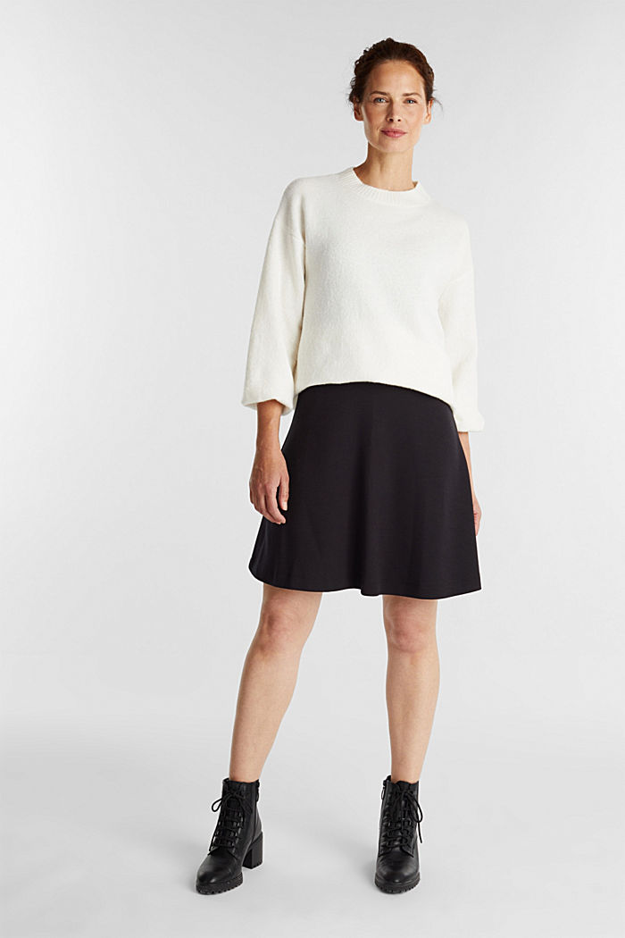 Jersey skirt with stretch for comfort, BLACK, detail image number 1