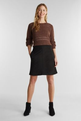 Recycled: mini skirt made of suede , BLACK, detail