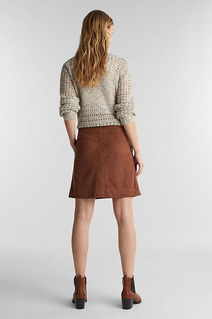 Recycled: mini skirt made of suede , BROWN, detail image number 3