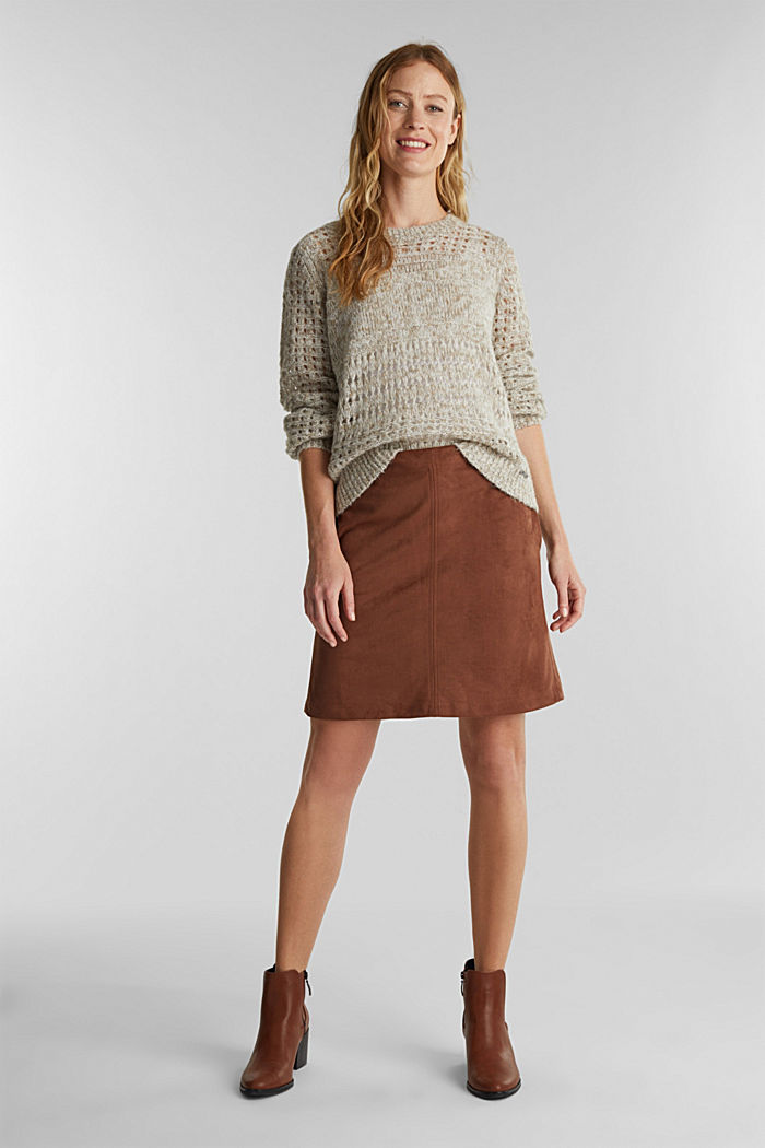 Recycled: mini skirt made of suede , BROWN, detail image number 1