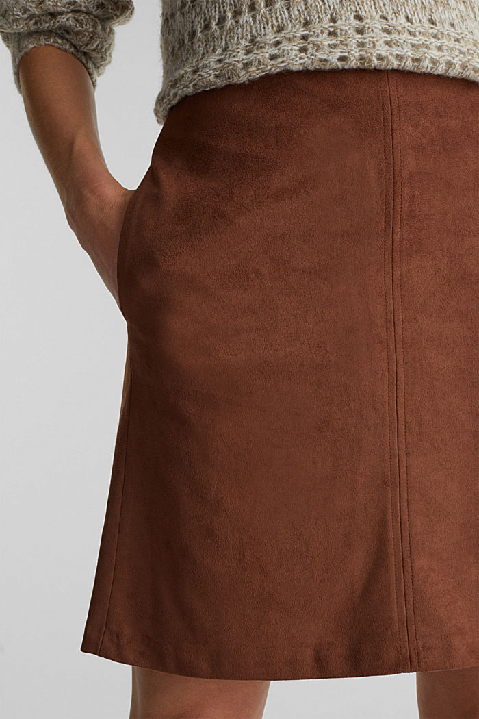 Recycled: mini skirt made of suede , BROWN, detail image number 2