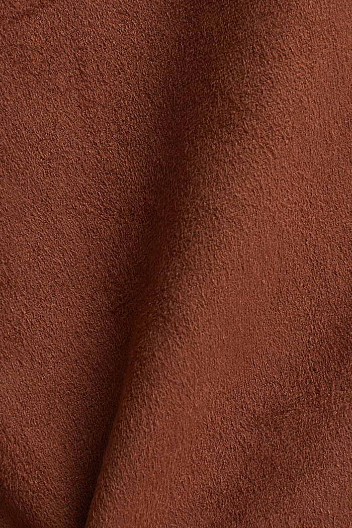 Recycled: mini skirt made of suede , BROWN, detail image number 4