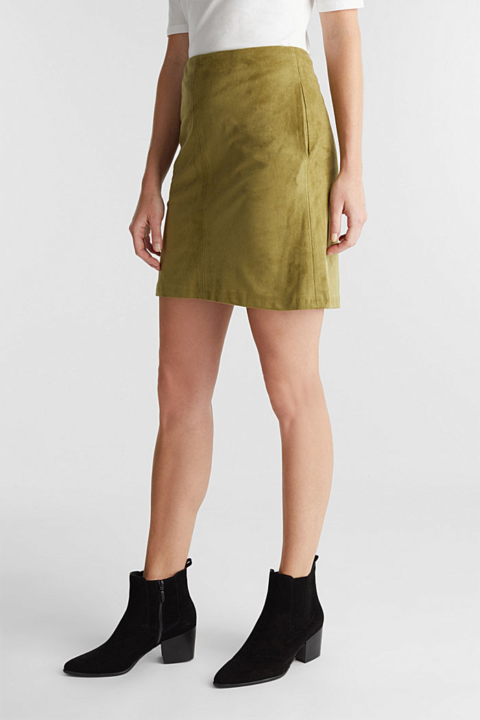 Recycled: mini skirt made of suede , OLIVE, detail image number 0