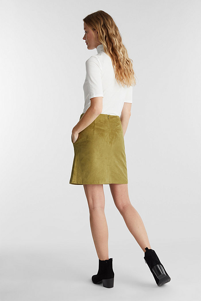 Recycled: mini skirt made of suede , OLIVE, detail image number 3