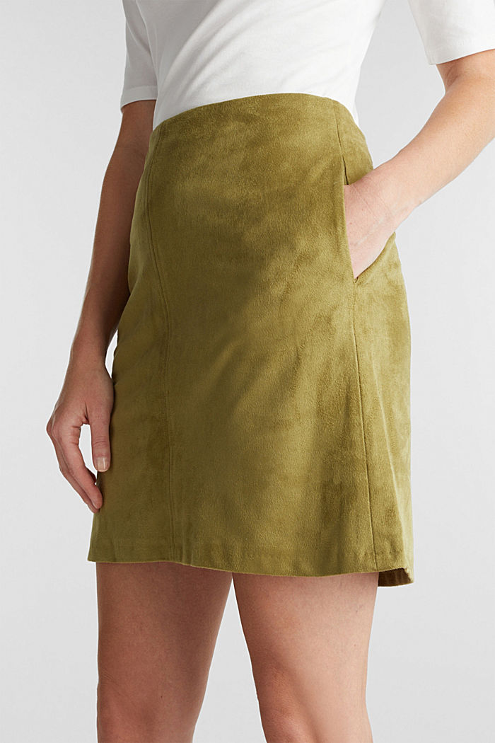 Recycled: mini skirt made of suede , OLIVE, detail image number 2
