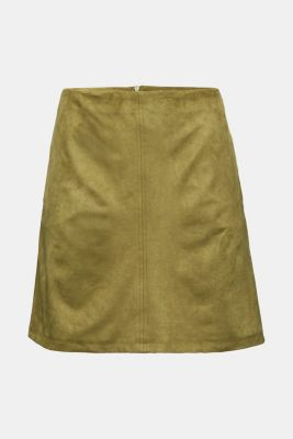 Recycled: mini skirt made of suede , OLIVE, detail