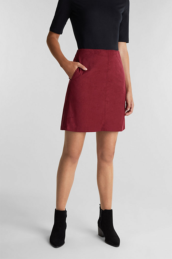 Recycled: mini skirt made of suede , BORDEAUX RED, detail image number 0