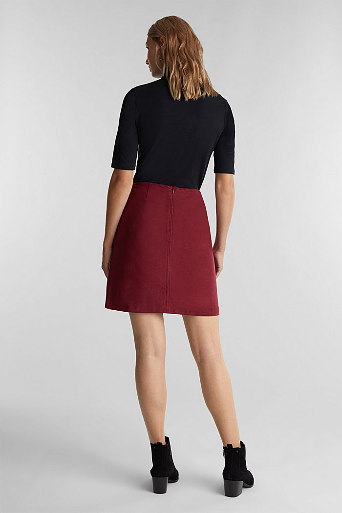 Recycled: mini skirt made of suede , BORDEAUX RED, detail image number 3
