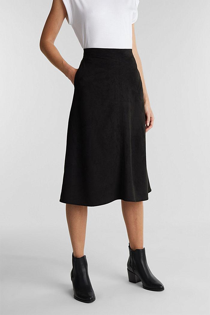 Faux suede midi skirt, BLACK, detail image number 0
