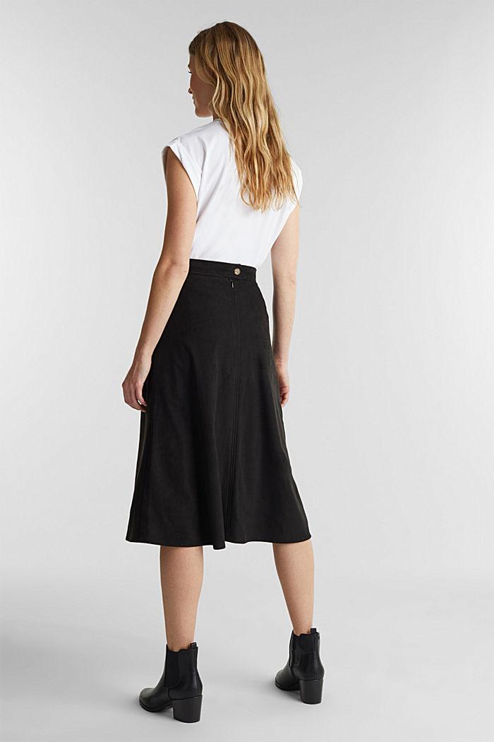 Faux suede midi skirt, BLACK, detail image number 3
