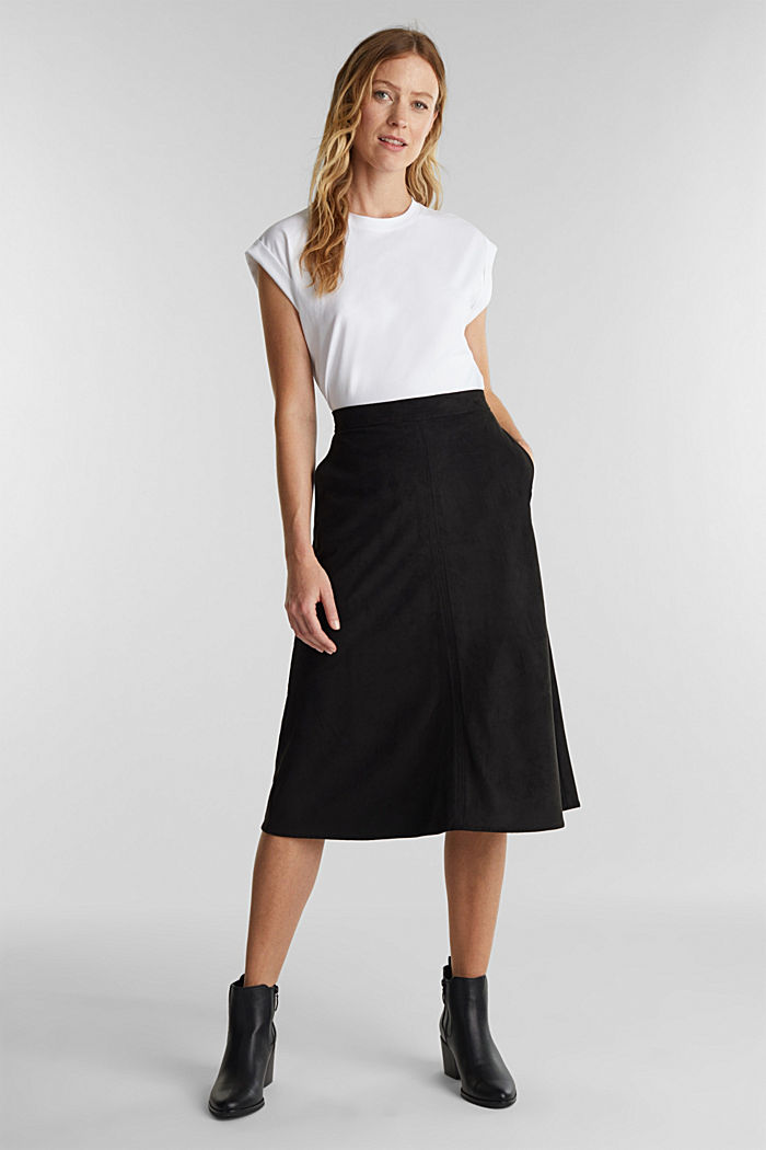 Faux suede midi skirt, BLACK, detail image number 5