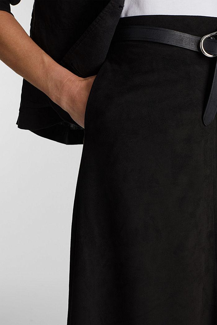 Faux suede midi skirt, BLACK, detail image number 2