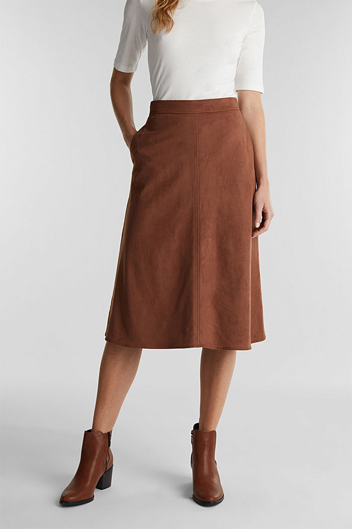 Faux suede midi skirt, BROWN, detail image number 0