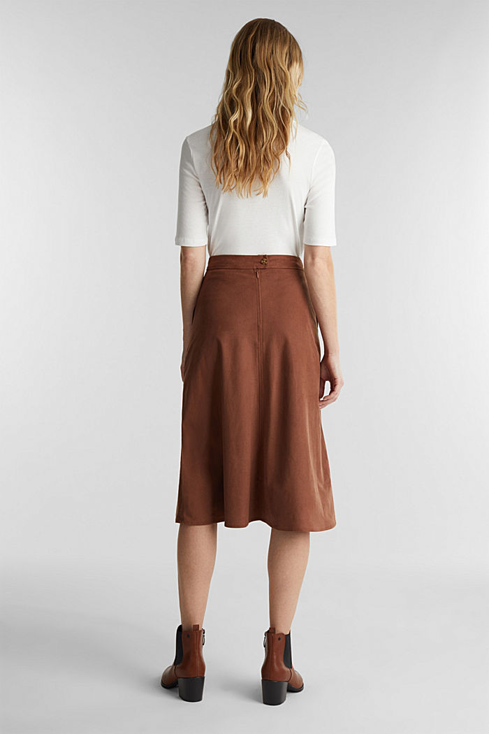 Faux suede midi skirt, BROWN, detail image number 3