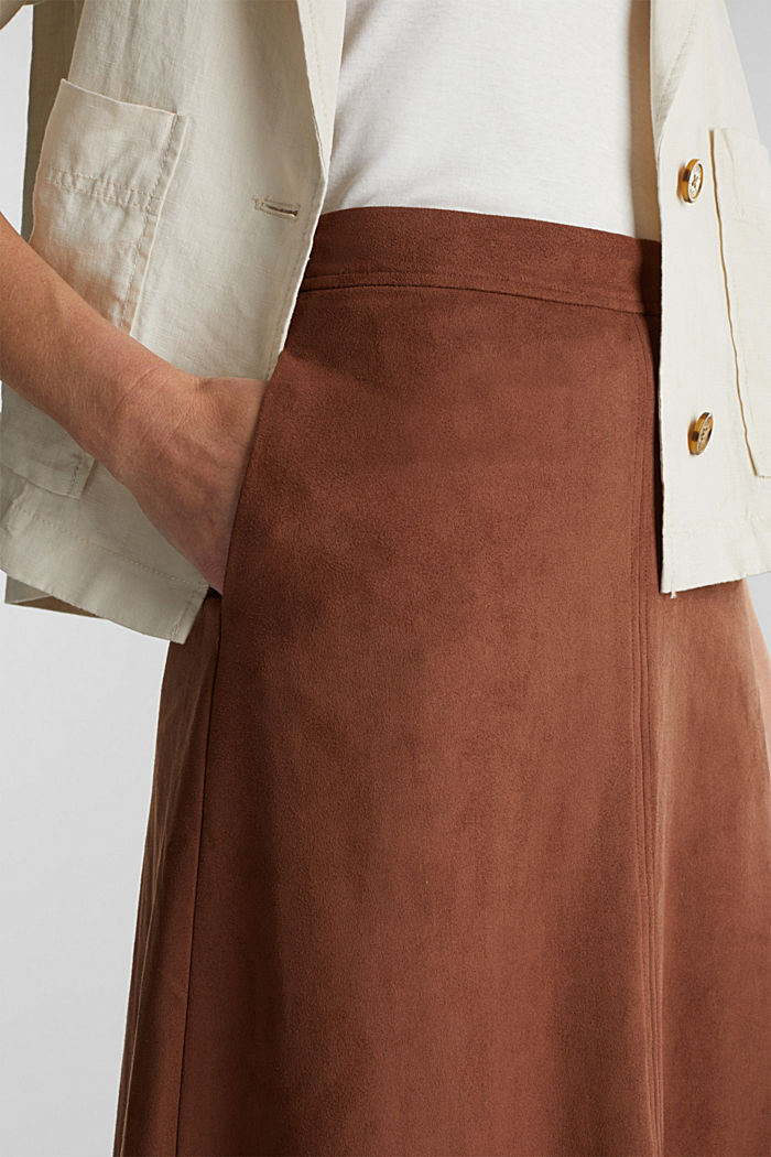 Faux suede midi skirt, BROWN, detail image number 2