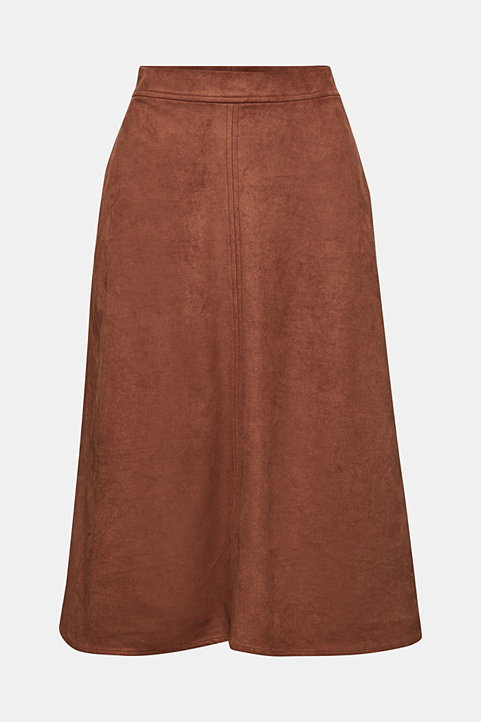 Faux suede midi skirt, BROWN, detail image number 5