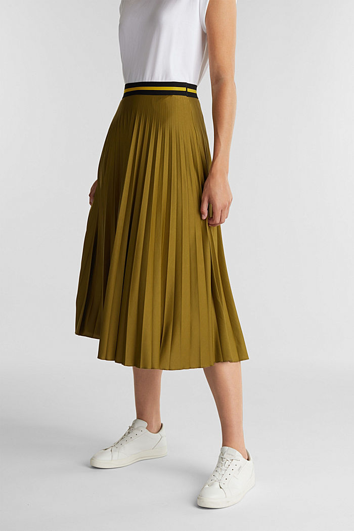 Pleated jersey skirt, OLIVE, detail image number 0