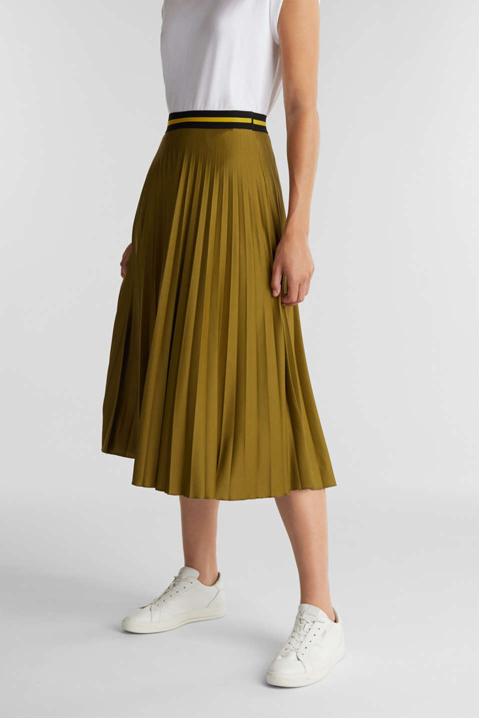 Esprit - Pleated jersey skirt