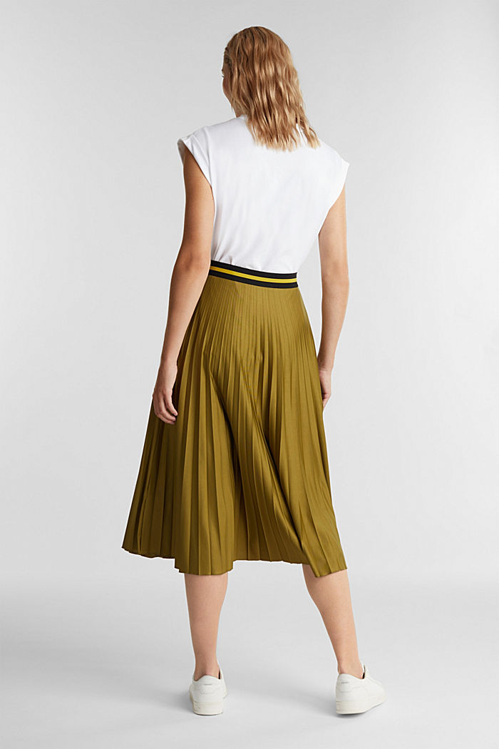Pleated jersey skirt, OLIVE, detail image number 3