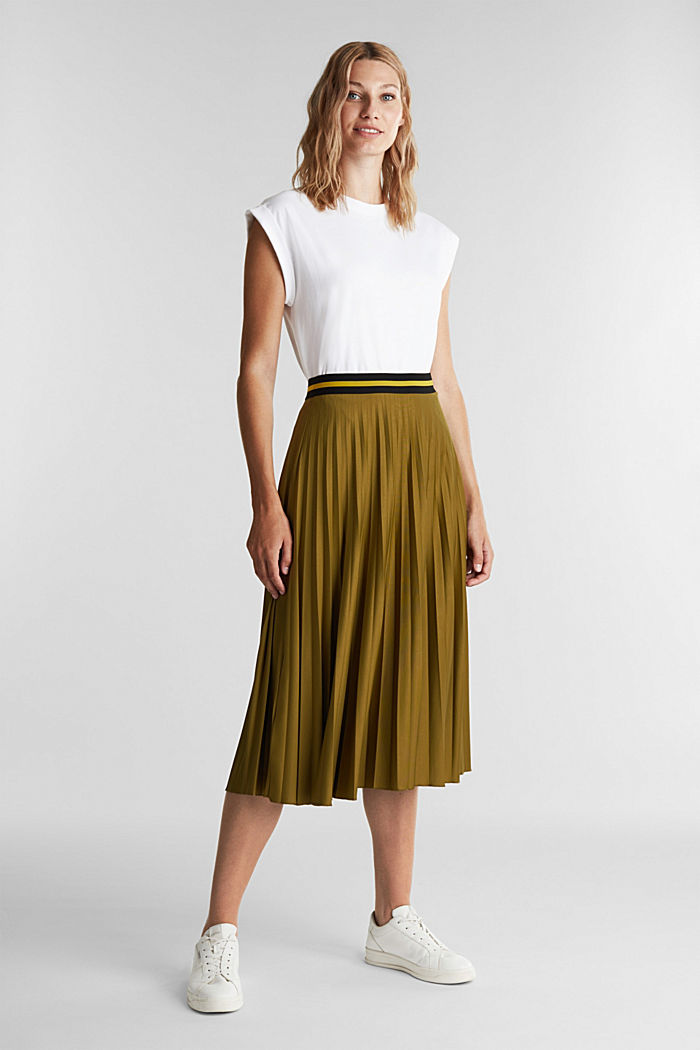 Pleated jersey skirt, OLIVE, detail image number 1