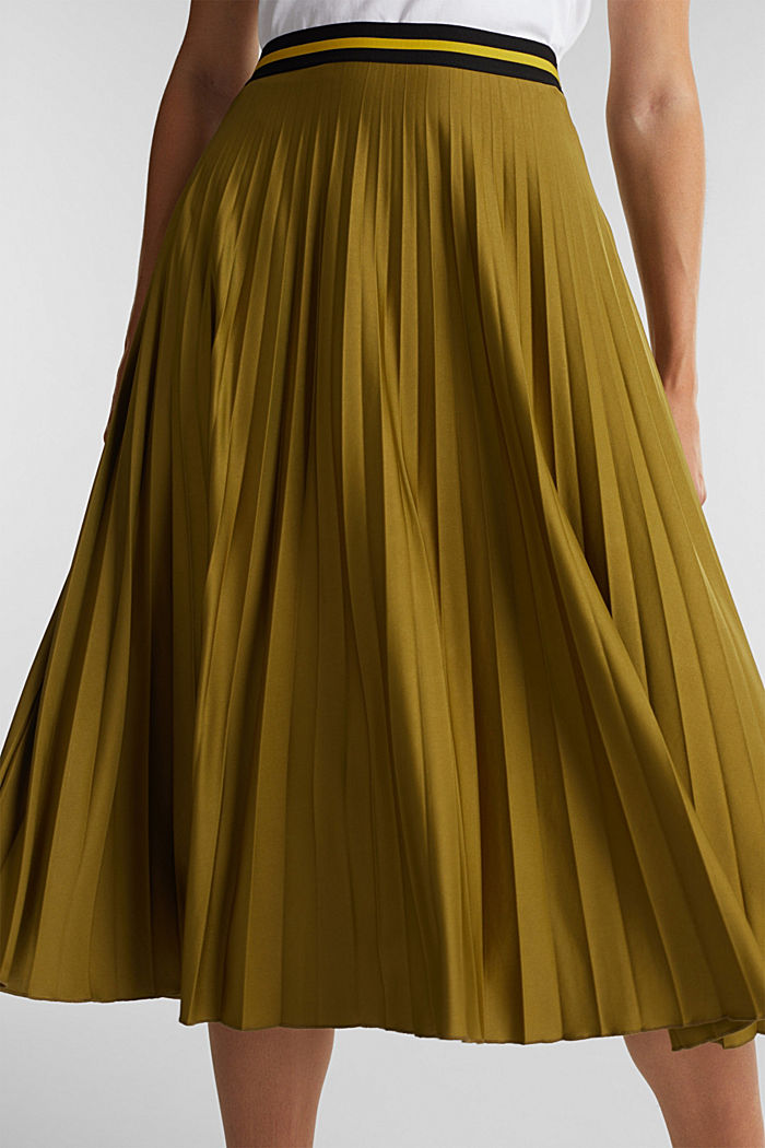 Pleated jersey skirt, OLIVE, detail image number 2